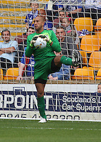 Tim Howard saving in the Motherwell v Everton friendly match at Fir Park, Motherwell on 21.7.12 for Steven Hammell's Testimonial.
