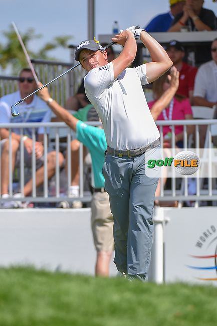 Paul Dunne (IRE) watches his tee shot on 1 during 3rd round of the World Golf Championships - Bridgestone Invitational, at the Firestone Country Club, Akron, Ohio. 8/4/2018.<br /> Picture: Golffile   Ken Murray<br /> <br /> <br /> All photo usage must carry mandatory copyright credit (© Golffile   Ken Murray)