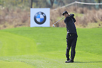 Thorbjorn Olesen (DEN) plays his 2nd shot on the 9th hole during Sunday's Final Round of the 2014 BMW Masters held at Lake Malaren, Shanghai, China. 2nd November 2014.<br /> Picture: Eoin Clarke www.golffile.ie