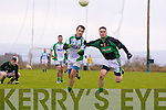 Robert Murphy of Na Gaeil races against Eoin Kennedy of Granagh/Ballingarry in the Muster Junior B Football Final last Sunday afternoon in Knockaderry.