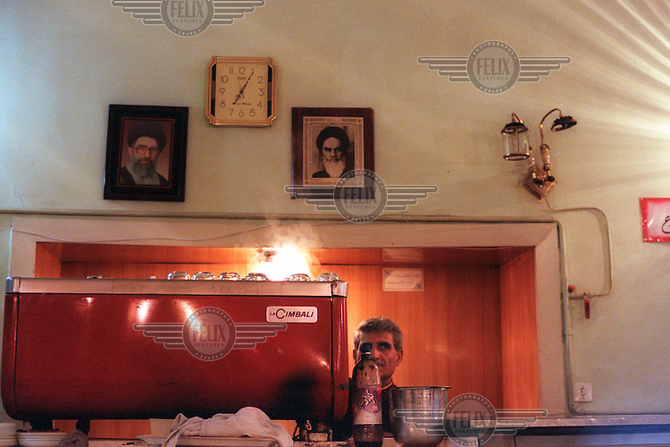 A waiter at the Cafe Naderi in Tehran, part of one of the oldest hotels in the city and a famed haunt for Tehran's intellectuals and artists..