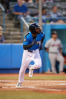 Hudson Valley Renegades left fielder Bryce Brown (1) runs to first base during a game against the Tri-City ValleyCats on August 24, 2018 at Dutchess Stadium in Wappingers Falls, New York.  Hudson Valley defeated Tri-City 4-0.  (Mike Janes/Four Seam Images)