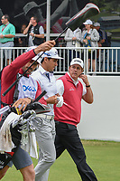 Phil Mickelson (USA) chats with Rafael Cabrera Bello (ESP) as they depart the first tee during day 3 of the World Golf Championships, Dell Match Play, Austin Country Club, Austin, Texas. 3/23/2018.<br /> Picture: Golffile | Ken Murray<br /> <br /> <br /> All photo usage must carry mandatory copyright credit (&copy; Golffile | Ken Murray)