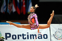 Marina Shpekt of Russia split leaps with rope at 2006 Portimao World Cup of Rhythmic Gymnastics on September 8, 2006.  (Photo by Tom Theobald)