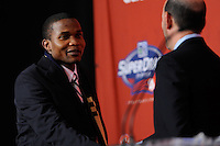 The first overall pick of the draft Danny Mwanga (Oregon State) shakes hands with MLS commissioner Don Garber  during the MLS SuperDraft at the Pennsylvania Convention Center in Philadelphia, PA, on January 14, 2010.