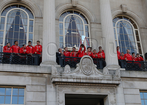 07.04.2016. Barnsley, England. Barnsley FC Johnstones Paint Trophy winners celebrations and parade. The Barnsley FC Team lift the Trophy on the city office balcony