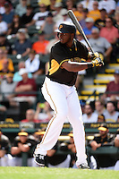 Pittsburgh Pirates outfielder Gregory Polanco (25) during a Spring Training game against the Minnesota Twins on March 13, 2015 at McKechnie Field in Bradenton, Florida.  Minnesota defeated Pittsburgh 8-3.  (Mike Janes/Four Seam Images)