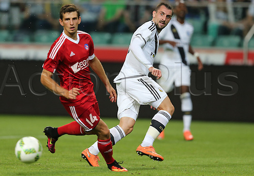 03.08.2016, Warsaw, Poland,  Jakub Holubek (Trencin), Michal Kucharczyk (Legia), Legia Warsaw versus AS Trencin, Champions League, qualification. The game  ended in a 0-0 draw with Legio going through on away goal.
