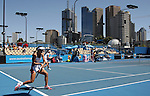 China's Zheng Jie (r) and Yan Zi (l) in action in the women's doubles on day 5 of the Australian Open Tennis , 23-1-09
