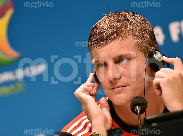 FUSSBALL WM 2014  Viertelfinale in Rio Frankreich - Deutschland               03.07.2014 Pressekonferenz Deutschland: Toni Kroos (Deutschland)