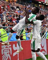 (180624) -- YEKATERINBURG, June 24, 2018 -- Moussa Wague (top) of Senegal celebrates scoring during the 2018 FIFA World Cup WM Weltmeisterschaft Fussball Group H match between Japan and Senegal in Yekaterinburg, Russia, June 24, 2018. ) (SP)RUSSIA-YEKATERINBURG-2018 WORLD CUP-GROUP H-JAPAN VS SENEGAL ChenxCheng PUBLICATIONxNOTxINxCHN  <br /> YEKATERINBURG 24-06-2018 Football FIFA World Cup Russia  2018 <br /> Japan - Senegal / Giappone - Senegal<br /> Foto Xinhua/Imago/Insidefoto