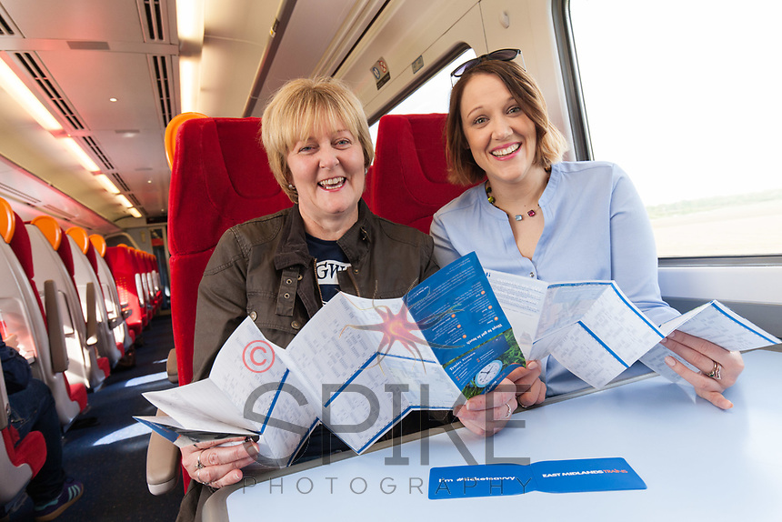 Sally Clarke (left) of North Hykeham and Fay Anderson of Lincoln on board at the launch of the new Lincoln to Nottingham train timetable