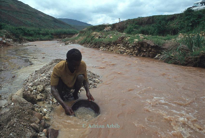 Tungsten mining .  Rwanda