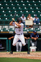 Bradenton Marauders John Bormann (15) at bat during a Florida State League game against the Charlotte Stone Crabs on April 10, 2019 at LECOM Park in Bradenton, Florida.  Bradenton defeated Charlotte 2-1.  (Mike Janes/Four Seam Images)