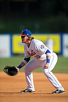 Kingsport Mets first baseman Dash Winningham (10) on defense against the Elizabethton Twins at Hunter Wright Stadium on July 9, 2015 in Kingsport, Tennessee.  The Twins defeated the Mets 9-7 in 11 innings. (Brian Westerholt/Four Seam Images)