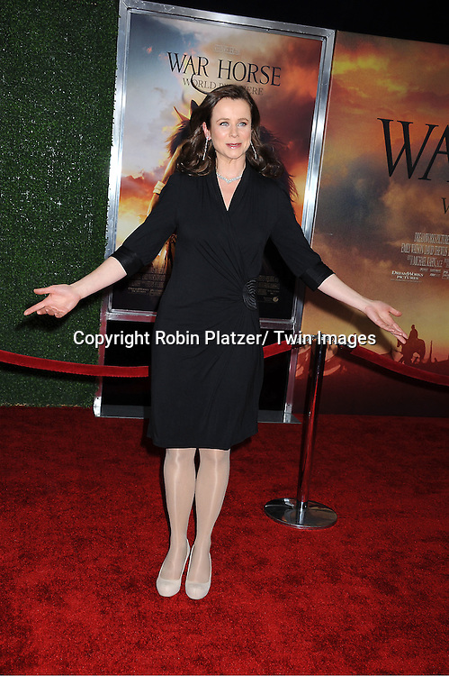 "Emily Watson attends the world premiere of ""War Horse"" on December 4, 2011 at Avery Fisher Hall in New York City."