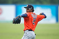 Osvaldo Duarte (2) of the Greeneville Astros warms up in the outfield prior to the game against the Kingsport Mets at Hunter Wright Stadium on July 7, 2015 in Kingsport, Tennessee.  The Mets defeated the Astros 6-4. (Brian Westerholt/Four Seam Images)