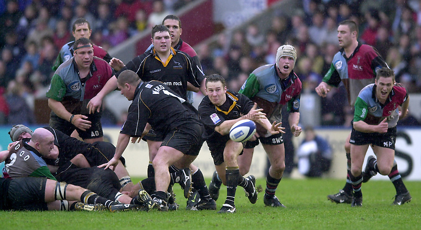 Photo. Richard Lane. .Harlequins v Newcastle at the Stoop, London. Zurich Premiership Rugby. 16-3-2002.Hall Charlton gets the ball away.