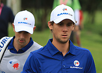 Thomas Pieters (Europe) walking to the 2nd tee during the Singles Matches of the Eurasia Cup at Glenmarie Golf and Country Club on the Sunday 14th January 2018.<br /> Picture:  Thos Caffrey / www.golffile.ie