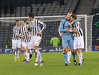 St Mirren players after winning in the St Mirren v Celtic Scottish Communities League Cup Semi Final match played at Hampden Park, Glasgow on 27.1.13.