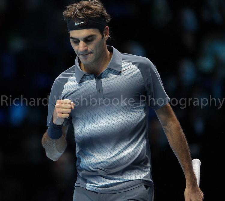 Barclays ATP World Tour Finals 2013<br /> Roger Federer (SUI) lost to Novak Djokovic (SRB) 4:6  7:6  2:6<br /> <br /> Tuesday 5th November 2013<br /> <br /> Photo: Richard Washbrooke Sports Photography<br /> Barclays ATP World Tour Finals 2013<br /> <br /> Tuesday 5th November 2013<br /> <br /> Photo: Richard Washbrooke Sports Photography