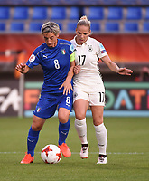 20170721 - TILBURG , NETHERLANDS : German Isabel Kerschowski (R) and Italian Melania Gabbiadini (L)  pictured during the female soccer game between Germany and Italy  , the second game in group B at the Women's Euro 2017 , European Championship in The Netherlands 2017 , Friday 21 th June 2017 at Stadion Koning Willem II  in Tilburg , The Netherlands PHOTO SPORTPIX.BE | DIRK VUYLSTEKE