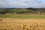 Linear settlement pattern in valley, Cherhill, Wiltshire, England, UK
