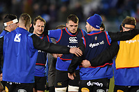 Jack Wilson and Zach Mercer of Bath Rugby looks on during a pre-match huddle. European Rugby Champions Cup match, between Bath Rugby and RC Toulon on December 16, 2017 at the Recreation Ground in Bath, England. Photo by: Patrick Khachfe / Onside Images