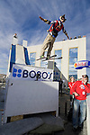 Shane McConkey launches his second urban Ski-BASE jump off the roof of the Silver Legacy hotel casino in downtown Reno, Nev., Saturday Nov. 17, 2007. The stunt was to promote the local premier of the 2007 Warren Miller ski movie Playground and to raise money for the Make-a-Wish foundation, which helps make wishes come true for seriously ill children.