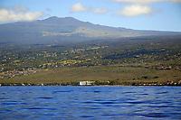 Cruising the Kona coast, View from a boat, Hualalai volcano, Kailua Kona, The Big Island of Hawaii