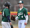Dylan Judd #4, Bellmore JFK southpaw, right, talks with battery mate #28 Kevin Ziminski after taking the mound in relief in a non-league varsity baseball game against Freeport at Cleveland Avenue Field in Freeport on Friday, March 24, 2017. Freeport won by a score of 9-6.