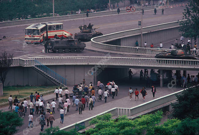 Tanks on Jianguomen Avenue bridge, leading to Tiananmen Square, Beijing, China, June 1989