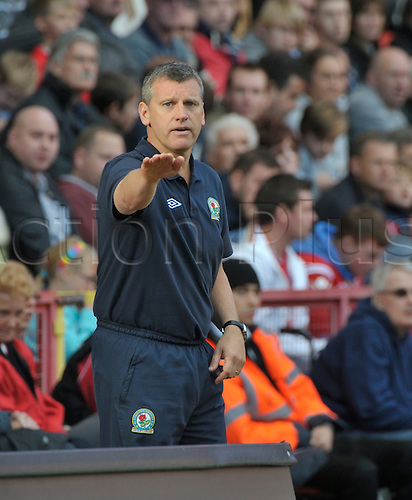 29.09.12 London, England.  Manager Eric Black takes over the reins as caretaker manager during the Championship game between Charlton Athletic and Blackburn Rovers from The Valley, London, England