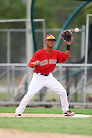 GCL Red Sox second baseman Yomar Valentin (18) waits for a throw during the second game of a doubleheader against the GCL Rays on August 9, 2016 at JetBlue Park in Fort Myers, Florida.  GCL Rays defeated GCL Red Sox 9-1.  (Mike Janes/Four Seam Images)