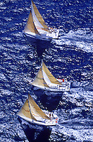 Top view of three sailboats in the Kenwood cup sailing race off the coast of Oahu.