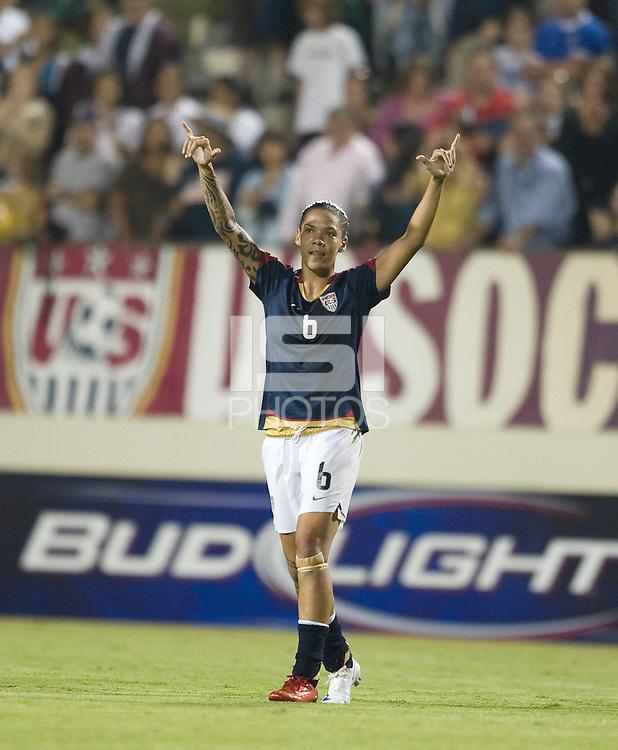 Natasha Kai waves to the crowd,  USA over Brazil 1-0, in San Diego, Calif., Wednesday, July 16, 2008.
