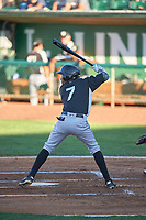 Cristopher Navarro (7) of the Grand Junction Rockies bats against the Ogden Raptors at Lindquist Field on June 15, 2019 in Ogden, Utah. The Raptors defeated the Rockies 12-11. (Stephen Smith/Four Seam Images)