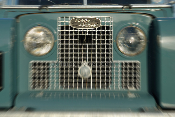 Close up of a freshly restored 1968 Land Rover Series 2a front with an age related black UK number plate. Europe, UK, England. --- Automotive trademarks are the property of the trademark holder, authorization may be needed for some uses.