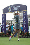 Suzann Pettersen tees off the 1st hole during the World Celebrity Pro-Am 2016 Mission Hills China Golf Tournament on 21 October 2016, in Haikou, China. Photo by Weixiang Lim / Power Sport Images
