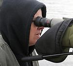 Individual Birdwatcher seen enjoying the Steve Chorvas led Esopus Creek Conservancy's Annual Spring Bird Walk, through along the Saugerties Lighthouse Trail, in Saugerties, NY on Sunday, March 19, 2017. Photo by Jim Peppler. Copyright Jim Peppler 2017.