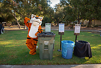 Oswald recycles<br /> Explore Occidental - Fall Preview Day, Friday, November 9, 2018.<br /> Fall open house to give prospective students and their families the opportunity to explore Occidental with tours of campus, student and faculty-led discussions, the ability to sit in on a class, and to learn what it means to be an Oxy Tiger.<br /> (Photo by Marc Campos, Occidental College Photographer)