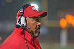 Redondo Beach, CA 10/14/11 - Redondo coach  in action during the Peninsula vs Redondo Union varsity football game.