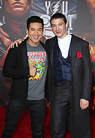 LOS ANGELES, CA - NOVEMBER 13: Mario Lopez and Ezra Miller at the Justice League film Premiere on November 13, 2017 at the Dolby Theatre in Los Angeles, California. Credit: Faye Sadou/MediaPunch