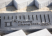 9th November 2016, PyeongChang, South Korea; The Winter Olympic logo on the outside of the Ice Hockey stadium in Pyeongchang