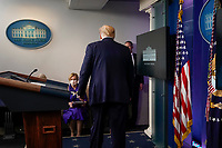 United States President Donald J. Trump leaves a news conference in the Brady Press Briefing Room of the White House in Washington, D.C., U.S., on Friday, May 22, 2020. Trump didn't wear a face mask during most of his tour of Ford Motor Co.'s ventilator facility Thursday, defying the automaker's policies and seeking to portray an image of normalcy even as American coronavirus deaths approach 100,000. <br /> Credit: Andrew Harrer / Pool via CNP / MediaPunch