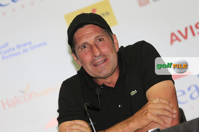 Jose Maria Olazabal (ESP) press conference during Wednesday's Pro-Am of the 2014 Open de Espana held at the PGA Catalunya Resort, Girona, Spain. Wednesday 14th May 2014.<br /> Picture: Eoin Clarke www.golffile.ie