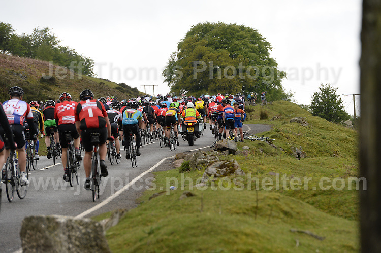 Competitors climb the challenging iconic and notorious 6km 10% stretch of road namely The Tumble during the Wales Velothon 2016 140km route cycling race.  <br /> <br /> <br /> Jeff Thomas Photography -  www.jaypics.photoshelter.com - <br /> e-mail swansea1001@hotmail.co.uk -<br /> Mob: 07837 386244 -