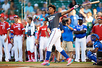 Rece Hinds (9) of Niceville High School in Niceville, Florida during the Home Run Derby before the Under Armour All-American Game presented by Baseball Factory on July 29, 2017 at Wrigley Field in Chicago, Illinois.  (Mike Janes/Four Seam Images)