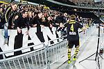Stockholm 2014-04-16 Fotboll Allsvenskan Djurg&aring;rdens IF - AIK :  <br /> AIK supportrar jublar med AIK:s Nils-Eric Johansson efter matchen<br /> (Foto: Kenta J&ouml;nsson) Nyckelord:  Djurg&aring;rden DIF Tele2 Arena AIK jubel gl&auml;dje lycka glad happy