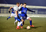 2018-03-03 / Voetbal / Seizoen 2017-2018 / Nijlen - Kampenhout / Glenn Leemans met Gianni Mari&euml;n (r. Nijlen)<br /> <br /> ,Foto: Mpics.be